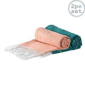 2x Turkish Cotton Towels Beach Bath Gym Spa Hammam Peshtemal Cantaloupe/Aqua