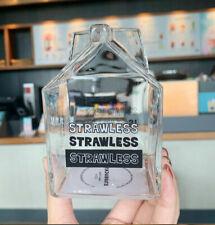 2020 Starbucks Milk Carton Shaped Glass Cup Creative Simple Straw Cup b1#