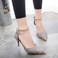 Women Pointed Toe Suede Buckle Strap Stiletto High Heels Pumps Wedding Shoes Hot
