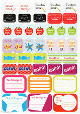140 Children's Reward Stickers Chart Kids Teacher School Star Well Done
