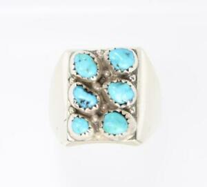 MEN'S STERLING SILVER NATIVE AMERICAN TURQUOISE RING SIZE 11 #8130