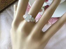 Art Deco Vintage Jewellery Gold Ring with White Sapphire Stones Antique Jewelry