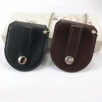 Vintage Leather Pocket Watch Holder Storage Case Bag Bronze Chain Holster Pocket