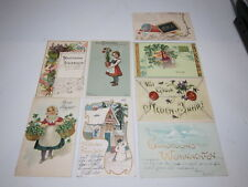 Lot 8 Postcards German Christmas New Year Congratulations PRE-1907 Snowman Girl