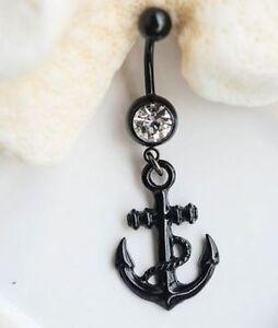 Black Anchor belly ring navel 14G dangle charm nautical clear gem