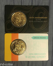 2016 Gold Plated Round & 2015 Gold Plated .50cent Piece Special 50th Anniversary