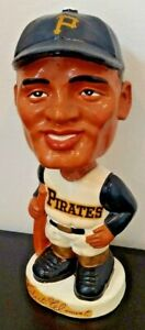 Vintage 1962 Bobblehead Roberto Clemente Pirates Black Face Nodder White Base