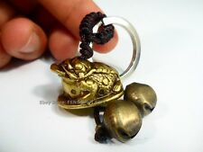 #BB Feng Shui Chinese Lucky Key Chain Ring Money Coin Frog Toad Charm brass bell