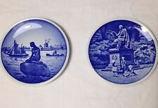 Lot Set of 2 Royal Copenhagen Denmark plates Mermaid Anderson butter pats 3 1/4""