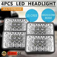 4x 6'' 60W 15 LED H4 Headlight Hi/Lo Beam DRL For Kenworth T800 T400 T600 Honda