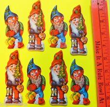 """Vintage DieCut 8 SWISS Cookie Picture Scrap Paper Glanzbilder-Gnome Elf Elves 4"""""""