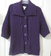 Chico's Sz 2 (12/14 L) Cable-Knit Chunky Fisherman Purple Cardigan Sweater~