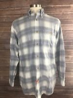 Orvis Mens M Blue & White Checkered Plaid Cotton Long Sleeve Button Front X28