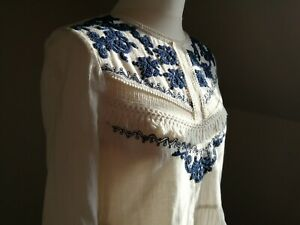 Beautiful Boho Folk Hippie Cream Blue Embroidered Blouse Top Long Sleeves Size M