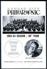 1962 Kansas City Philharmonic Hans Schwieger photo tour booking vintage print ad