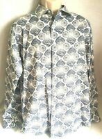 Daniel Cremiex L Large Shirt Long Sleeve  Light Blue paisley Print Button Down