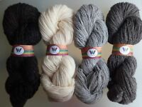 100% Pure Wool Double Spun: Natural Undyed White, Grey, Black in hanks 100g
