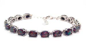 Silver Black Fire Opal Oval Cut 24.02ct Tennis Bracelet (925) Free Gift Box