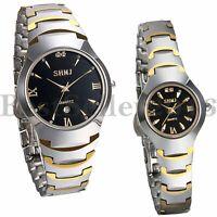 Men Women Luxury Tungsten Carbide Calendar Quartz Bracelet Analog Wrist Watch