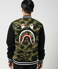 3bb7aee96137 Authentic a Bathing Ape Bape Shark Sweat Varsity Jacket Black XL RARE