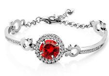 Elegant Silver and Red Zircon Shiny Evening Bridal Party Bangle Bracelet BB137