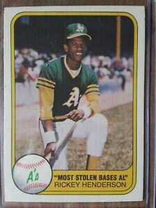 1981 Fleer Rickey Henderson #351 Baseball Card. Top Loader included. Clean Card