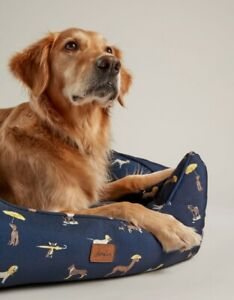 NEW! Joules Percher / Box Navy Coastal Dog Print Square Dog Bed S/M/L