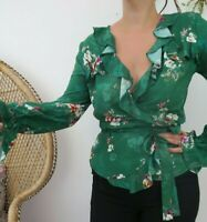 H & M Green Floral Wrap Around Top with Frill Occasion Party Blogger size 10