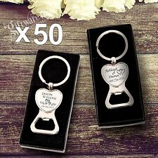 50 x Engraved Solid Heart Bottle Opener Keyring Wedding Favour Gift Personalised