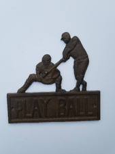 Cast Iron Play Ball Wall Plaque, Baseball, Batter