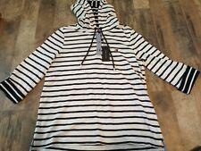 NWT Tommy Hilfiger Black White Stripe Slub Pullover Hoodie Top Size L Large $69