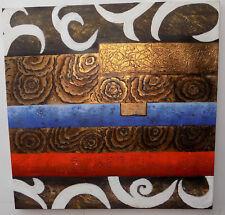 Quadro astratto ad olio materico cm 100x100 base blu oro moderno arredo n 2