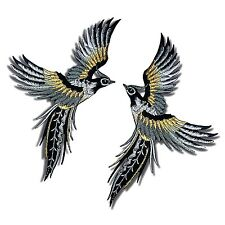 2 Lot Phoenix Birds Patch Black Wings Tattoo Embroidered Iron on Applique DIY