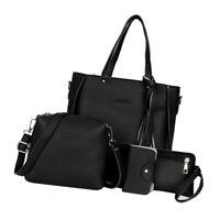 4 Pcs Leather Handbag Cross Body Shoulder Bag Purse Card Bag Set for Women Black