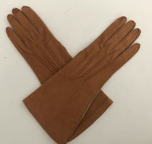 """NEW DONNA KARAN COLLECTION LEATHER SADDLE BROWN 11"""" GLOVES 7.5 MADE IN ITALY"""