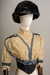 Antique Edwardian Stunning Lace and Embroidered Bodice, Silk Cumberbun, As Is