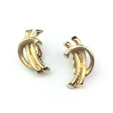 """Vintage Polcini Brushed Gold Tone Clip On Earrings 1"""" Long"""