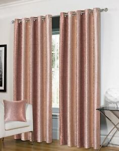 Shimmer Jacquard Two Tone Ring Top Ready Made Curtain Pair, Red, Silver, Pink