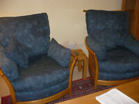 ercol Renaisance armchairs Light wood blue jacquard upholstery. Great project.