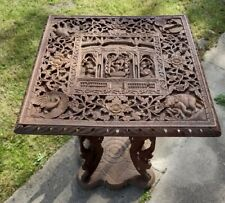More details for rare antique burmese beautifully carved deity figural table