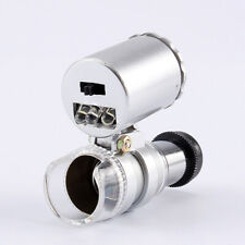 60X Pocket Jewelry Coins Stamps Loupe Microscope Diamonds Magnifier LED Light