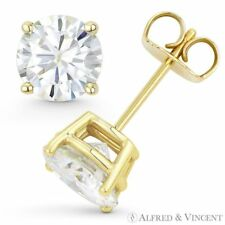 Round Cut Forever Classic Moissanite 14k Yellow Gold 4Pr Pushback Stud Earrings