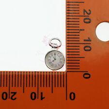 20 Clock Pocket Watch Shape Alloy Charms Pendant Vtg Nail Art Metal 3D DIY Decor