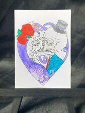 ACEO Original Dead Lovers Forever Medium Black Ink Marker on Paper Signed Artist
