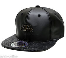 NEW PREMIUM SNAPBACK CAP *BLACK* PLAIN BASEBALL FITTED LEATHER FLAT PEAK HAT