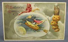 1914 Halloween Postcard Winsch Witch Flying Corn Cob Devil Moon Owl JOL in Sky