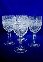 Set of 4 Vintage Leaded Crystal Cut Glass Daisies/Birds Wine Goblets-Estate Item