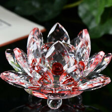 Lotus Crystal Glass Figure Paperweight Ornament Feng Shui Decor Collection Multi Red