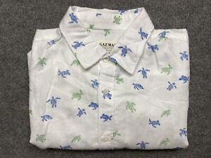 Gazman Button Up Shirt Mens Large Linen Short Sleeve Classic Fit White Adult