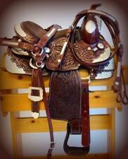"12"" Kid Dark Br Full Silver Show Trail Pleasure Western Saddle 4Pc Hsbp New!"